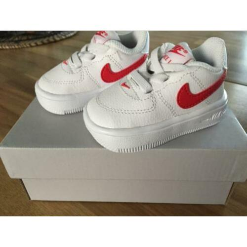 Nike force 1 sneakers | wit - rood | maat 17