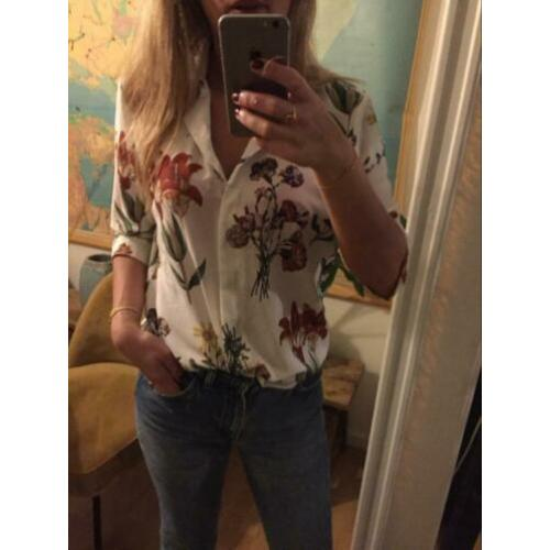 Selected femme blouse top floral print nude zomer